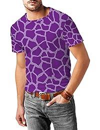 Jirafa Bright morado para hombre mezcla de algodón T-Shirt