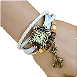 Akezone Leather Quartz Watch Alloy Giraffe and Wooden Beads Bracelet Wrist Watch (White)