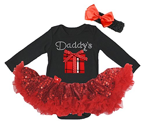 Schwarz Tutu Kostüm Box - Valentine Baby Dress Daddy's Gift Box Black L/s Bodysuit Red Sequin Tutu Nb-18m (0-3monat)