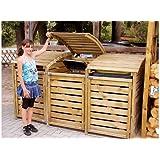 Mülltonnenbox aus Holz, Mülltonnenverkleidung - dreifach (für 3 Tonnen bis 240 Liter), wetterfest und somit ideal für draußen / Outdoor geeignet