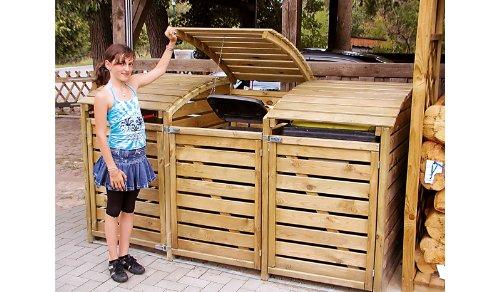 *Mülltonnenbox aus Holz, Mülltonnenverkleidung – dreifach (für 3 Tonnen bis 240 Liter), wetterfest und somit ideal für draußen / Outdoor geeignet*