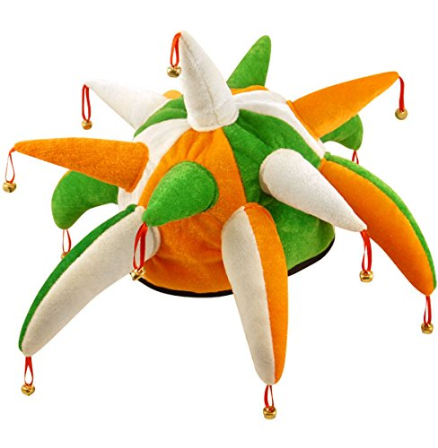 St Patrick's Day Green, Orange & White Jester Hat with Bells - Day Hat Green