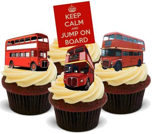 Bleib ruhig Jump On Board Mix - 12 essbare hochwertige stehende Waffeln Karte Kuchen Toppers Dekorationen, Keep Calm Jump On Board Mix - 12 Edible Stand Up Premium Wafer Card Cake Toppers Decorations