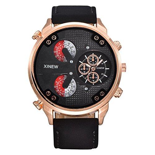WINWINTOM Uhren Herren Sale, Luxus Herren Flieger Weiß Automatik Mechanische Datum Tag Leder Armbanduhr (Schwarz)