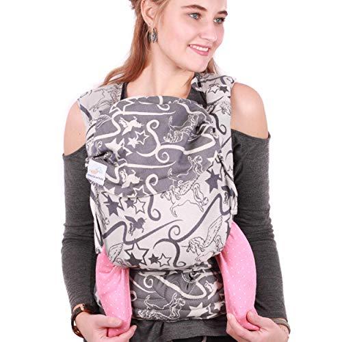 SCHMUSEWOLKE Mei Tai Babytrage Neugeborene und Kleinkinder Magic Blue BIO-Baumwolle Babysize 0-24 Monate 3-16 kg Bauch-und Rückentrage