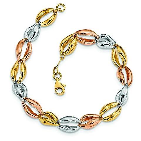 14ct Tri-color Fancy Link Bracelet - 20 Centimeters
