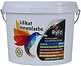 RyFo Colors Silikat Innenfarbe 3l - Mineral-Farbe, Silikatfarbe, Wandfarbe, weiß, Allergiker-geeignet, zertifiziert Deckkraft Klasse 1, Nassabrieb Klasse 1