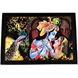 "D'Mak"" Radha Krishna Religious"" Painting (Synthetic Without Glass & UV Art Painting) Radhe Krishna Poster 12x18 Inch With Photo Frame 