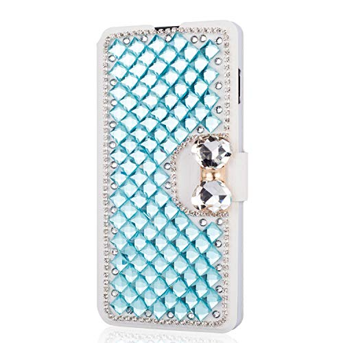 King phone Handyhülle kompatibel mit iPhone 5 iPhone 5S iPhone SE Glitzer Diamant Strass Bling Leder Hülle Flip Slim Case mit Kartensteckplätze Standfunktion Schutzhülle - Blau (Bling 5 Iphone Cases Bow)