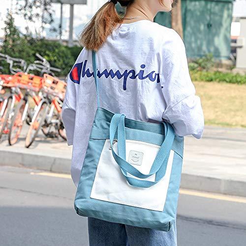Bedolio Casual Canvas Bag Damen Umhängetasche vielseitige Studententasche, blau