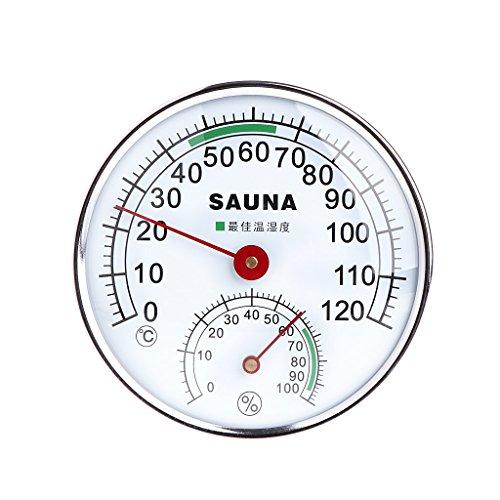 Besttse Edelstahl Thermometer Hygrometer für Sauna Raumtemperatur Luftfeuchtigkeit Meter