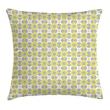 NGDUTZ Abstract Decor Throw Pillow Cushion Cover, Trippy Fractal Geometric Forms with Circle Inside Squares Simplistic Design, Decorative Square Accent Pillow Case, 18 X 18 Inches, Yellow Grey