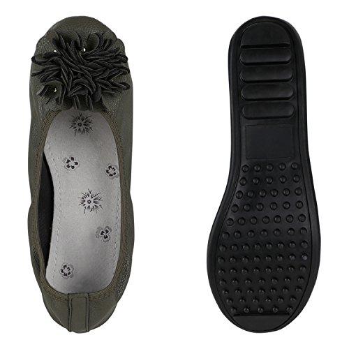 Damen Ballerinas Übergrößen Zweitschuhe Flats Slipper Dunkelgrün