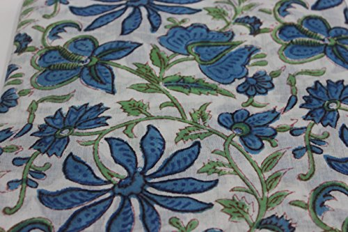HANDICRAFTOFPINKCITY Handgefertigter Stoff mit Sonnenblumen-Motiv, aus indischer Baumwolle, handgefertigt, 100% Baumwolle, Mehrzweck-Kleiderstoff, sehr attraktiver Blumendruckstoff -