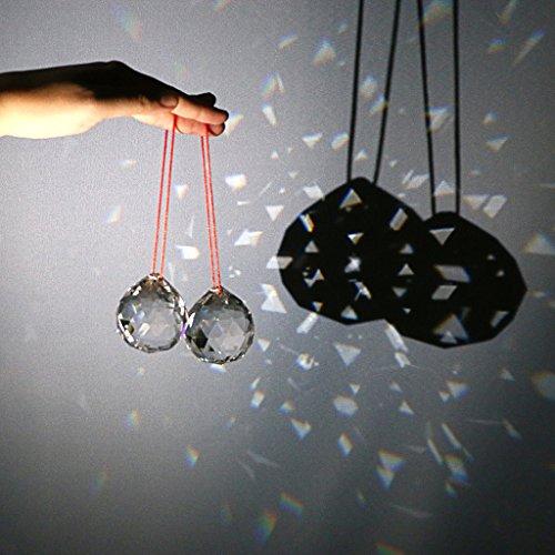 Galleria fotografica Btsky 2pezzi 50mm trasparente sfera di cristallo prismi Suncatcher sfera di cristallo appeso sfera di cristallo con scatola regalo per Feng Shui casa decorazione della festa nuziale