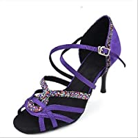 T.T-Q Chaussures de Danse des Femmes Cuir Baskets Modernes Chunky Heel Noir Blanc Latin Sandals Salsa Jazz Tango Swing Pratique Indoor Performance wqQ0A3m