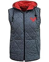 Voi Jeans Cave Men's Reversible Hooded Body Warmer Gilet Jacket Coat grey/red