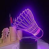 Badminton 3D night light USB 7 cambia colore Lampada da tavolo a LED camera da letto per bambini illuminazione del sonno regalo di festa di compleanno decorazione della casa