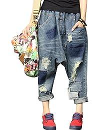 5a51d945072 Youlee Femmes Taille Élastique Jambe Large Harem Pantalon Trou Jeans
