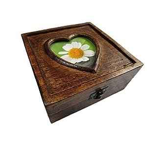Geschenkhaus-Tom Holztruhe mit Herz Schatztruhe Schatzkiste Truhe Holztruhe Holzbox Box Massivholz im Shabby Chic Look