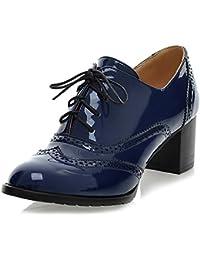 ODEMA Chaussures Richelieu Classiques pour Femmes à Lacets Wingtip Bottines  Chunky à Talons Hauts 03c42941a30d