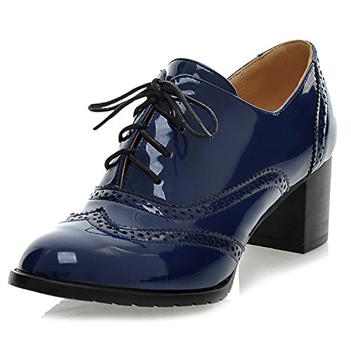 f41f3bf507 Odema Classic Brogue Oxford Shoes para Mujer con Cordones Wingtip Chunky High  Heel Booties
