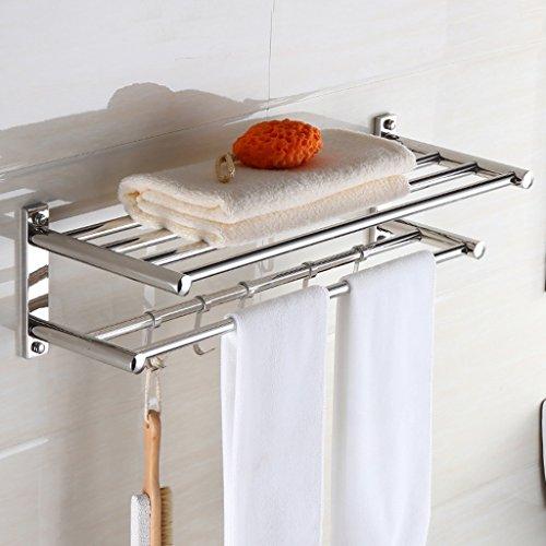 toallero estante cuarto de aseo estantería de baño traje de espesor de acero inoxidable toalla de baño ( Tamaño : 60cm )