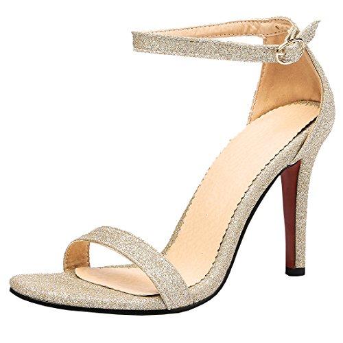 Artfaerie Damen High Heels Glitzer Sandaletten Ankle Strap Pumps mit Schnalle und Stiletto Elegante Offen Schuhe (Strap Stiletto Schuhe Ankle Heel)