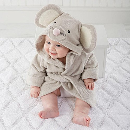 hibote Baby Hooded Nightgown Cartoon Squirrel Flannel Sleepwear Girls Boys Homewear Pajamas Kids Soft Bath Robe 0-3 years