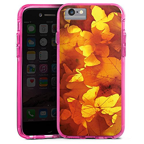 Apple iPhone X Bumper Hülle Bumper Case Glitzer Hülle Herbst Autumn Blaetter Bumper Case transparent pink