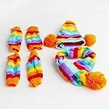 Rtengtunn Inverno Caldo 3 Volte a Strisce Cappello da Cane Sciarpa Sciarpa Calzini Costume Cucciolo - XS