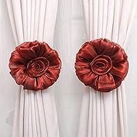 JaneDream 1 Pair Nice Window Curtains Strap Strap Rose Flower Red