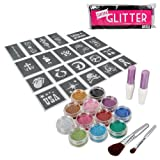BMC 12pc Party Fun Temporary Fashionable Multi-Color Glitter Shimmer Tattoo Body Art Design Kit with Stencils, Glue and Brushes - BMC - amazon.co.uk
