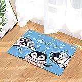 JYRSTSEHT Cartoon Tre Simpatici Tappetini in Pinguino Stampa HD, Morbido E Confortevole Tessuto in Poliestere, Elegante Stuoia da Bagno Asciugatura Rapida Antibatterico