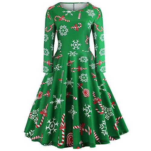 TUDUZ Damen Weihnachtskleid Langarm Xmas Print Ausgestelltes Weihnachten A-Linie Swing Festlich Kleid Partykleid