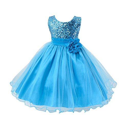 ESHOO Mädchen Kleid Pinzessin Kostüm Pailletten Blumen Prinzessin Party (Für Rock Kostüme Mädchen Of Ages)