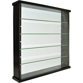 WATSONS EXHIBIT   Solid Wood 4 Shelf Glass Wall Display Cabinet   Black