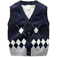 GKKXUE Suéter de Punto de algodón Mercerizado de Diamantes para niños Suéter de (Color : Azul, Tamaño : 90cm)