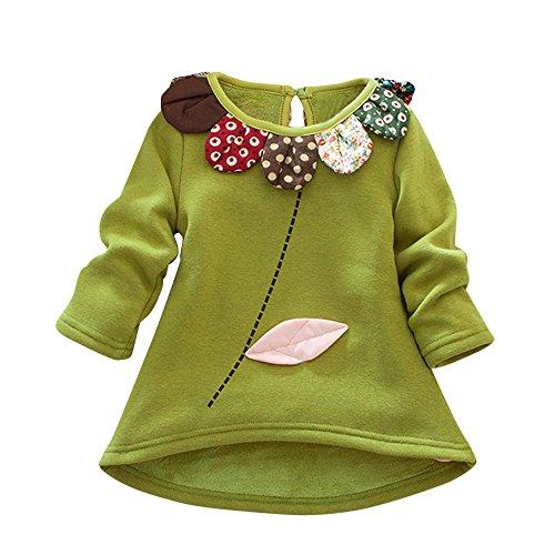 HARRYSTORE Kleinkind Kinder Mädchen Jungen Cartoon Blume Langarm Oberteile Bluse Pullover Kleidung Langarm Plüsch Blütenblatt Kragen T-Shirt (Camo-outfits Für Mädchen Kleinkind)
