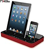 NXET Speaker and Charger, 2-in-1 Docking Station Multi-Function Dual Charging with Audio Bass Player for iPhone 4S/5/5S/5C/SE/6/6S/7 Plus, iPad Air/Mini, Samsung Galaxy and More (Standard, Red)