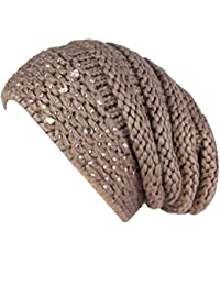 caripe Damen Winter Mütze Long Beanie Strickmütze Strass - 85110