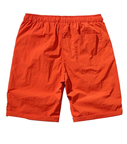 NiSeng Herren große Größe Slim Fit Casual Schnelles Trocknen Shorts Urlaub Strand-Shorts Sommer Badeshorts Surf Swim Shorts BoardShorts Orange Rot