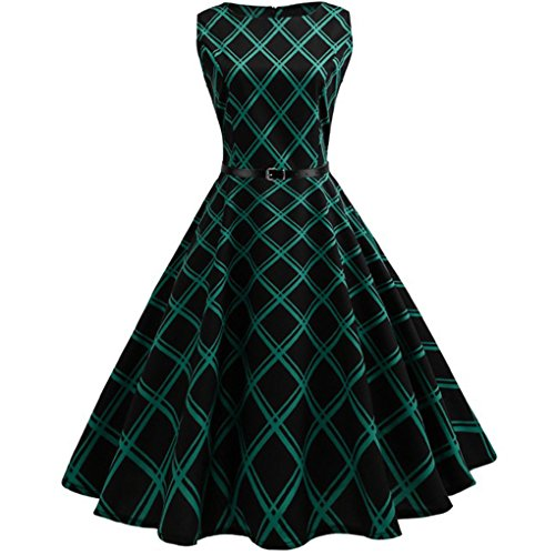 Damenkleid der Frauen kleid JYJM Hepburn Frau Retro-Wind gedruckt Plaid Taille großes Kleid Frauen Vintage Floral Bodycon Plaid Sleeveless beiläufiges Abend-Party-Kleid (S, Grün) (Sleeveless Tank Kleid Floral)