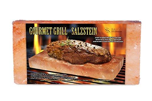 51SAUiVmK2L - Gourmet Grill Salzstein - Himalaya* Salz- 20 x 10 x 2,5 cm von Salz Einkaufsparadies (aus der Salt Range Pakistan)