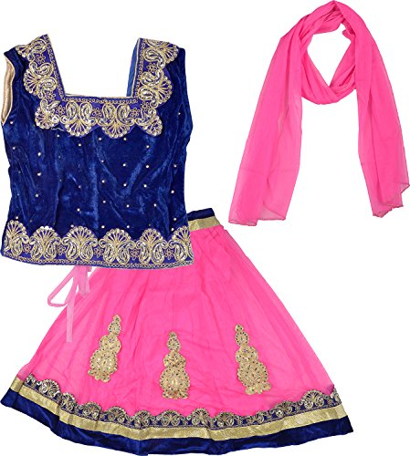 Kid's Stop Girls' Blended Lehenga Choli Set (kist_bluepinklehenga.12, Multi-Coloured, 3-4 Years)