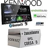Opel Corsa D schwarz - Autoradio Radio Kenwood DMX7017BTS - 2-DIN 17,7cm | Bluetooth | AndroidAuto | Apple CarPlay | Zubehör - Einbauset