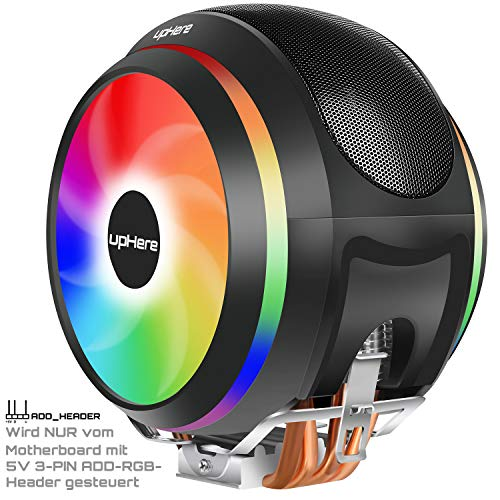 Led-heatpipe (upHere CCF150ARGB CPU-Kühler '4 Heatpipes,2x120mm PWM Lüfter,5v 3pin Adressierbar RGB LED')