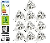 Allcam 10 Pack ECO 5W Ultra Bright GU10 LED Bulbs Warm White 3000k, Energy Saving Light Bulbs, 50mm Height, 120° Angle, Perfect as LED Downlights