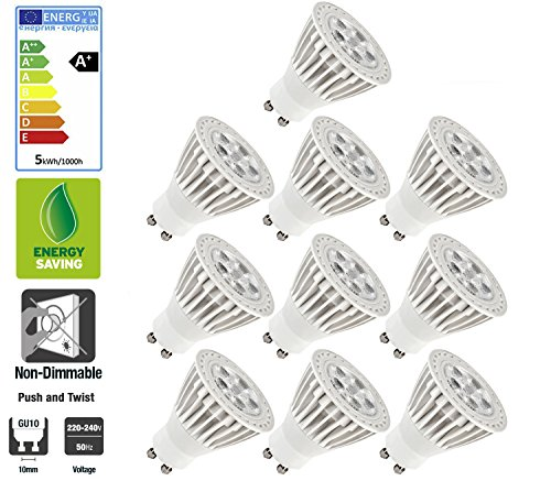 Light Energy Saving Lamp (10 Pack Allcam ECO 5W Ultra Bright GU10 LED Bulbs Warm White 3000k, Energy Saving Light Bulbs, 50mm Height, 120° Angle, Perfect as LED Downlights)