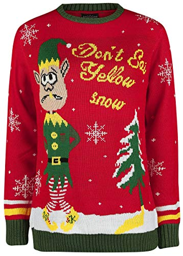 Ugly Christmas Sweater Don`t Eat Yellow Snow Weihnachtspullover rot S